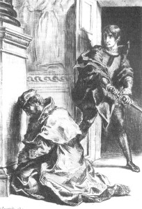 Eugène Delacroix, Hamlet comes upon the king at prayer.